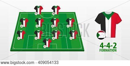 Sudan National Football Team Formation On Football Field. Half Green Field With Soccer Jerseys Of Su