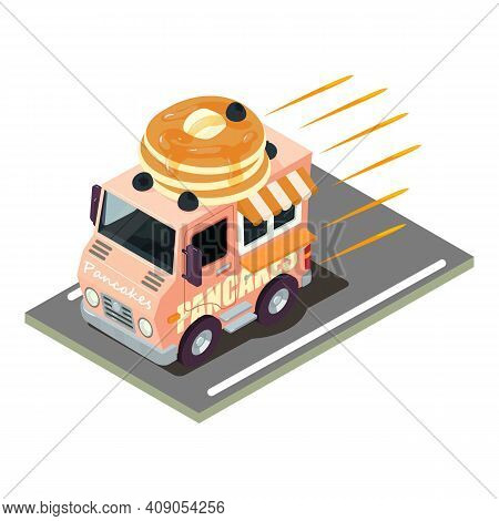 Pancake Delivery Icon. Isometric Illustration Of Pancake Delivery Vector Icon For Web