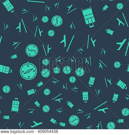 Set Plane Takeoff, Suitcase, Compass And Plane Landing On Seamless Pattern. Vector