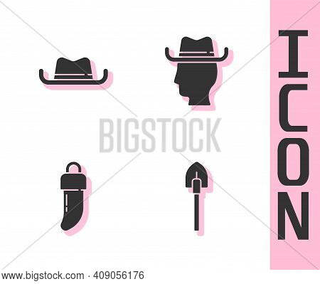 Set Shovel, Western Cowboy Hat, Tooth And Cowboy Icon. Vector