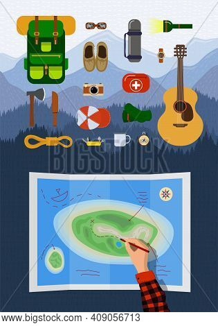 Outdoor Recreation Hiking Equipment Infographic Set On Mountains Landscape. Backpacking Belongings C