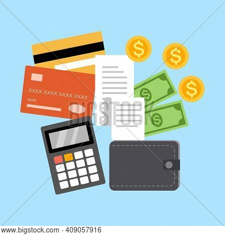 Monthly Expense Planning. Calculate Payment. Payday Deadline. Credit Card, Receipt, Calculator, Wall