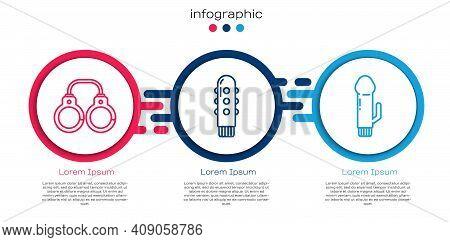 Set Line Sexy Fluffy Handcuffs, Dildo Vibrator And Dildo Vibrator. Business Infographic Template. Ve