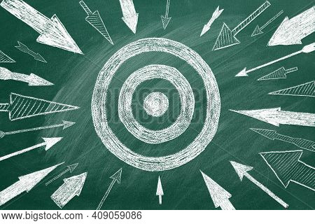 Many Different Arrows And Target Drawn In Chalk On A Blackboard. Concept Of Threat, Danger, Menace,