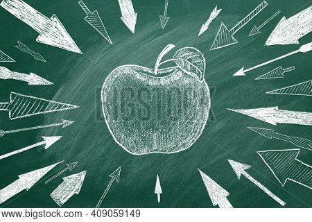 Many Different Arrows And Apple As A Target In The Center Drawn In Chalk On A Blackboard. Concept Of