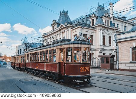 Vintage Tram On The Street In The Historical City Center. Moscow Tram Parade.