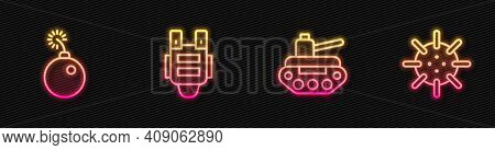 Set Line Military Tank, Bomb Ready To Explode, Bulletproof Vest And Naval Mine. Glowing Neon Icon. V