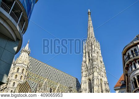 View Of St. Stephen's Cathedral, Cityscape. The Mother Church Of The Roman Catholic Archdiocese Of V