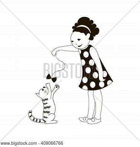 Girl Play With Kitten. Vector Black And White Illustration.