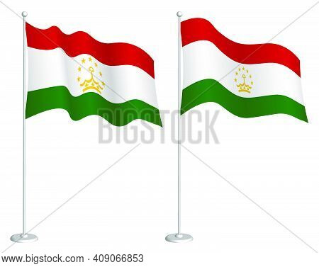 Flag Of Tajikistan On Flagpole Waving In Wind. Holiday Design Element. Checkpoint For Map Symbols. I