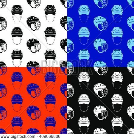 Set Of Seamless Patterns With Ice Hockey Helmets. Ice Hockey Field Player Protective Gear. Ornament