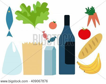 Set Constructor Fresh Food From The Supermarket And Plastic And Paper Bags Packaging Isolated. Flat