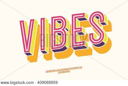 Vector Vibes Font 3d Bold Color Style Modern Typography For Decoration, Logo, Poster, T Shirt, Book,