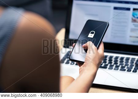 Phishing, Mobile Phone Hacker Or Cyber Scam Concept. Password And Login Pass Code In Smartphone. Onl