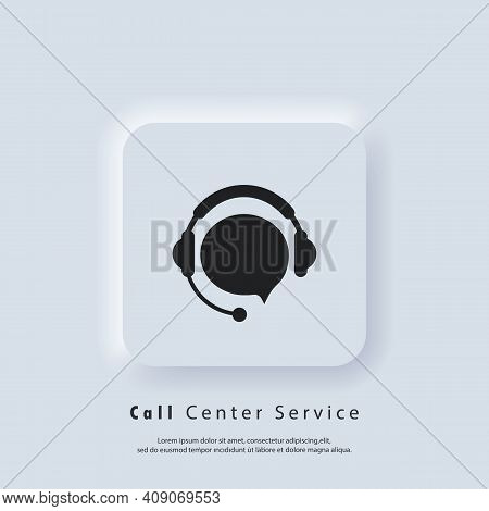 Support Icon. Call Center Service Icon. Support With Speech Bubble. Headphones Logo. Vector Eps 10.