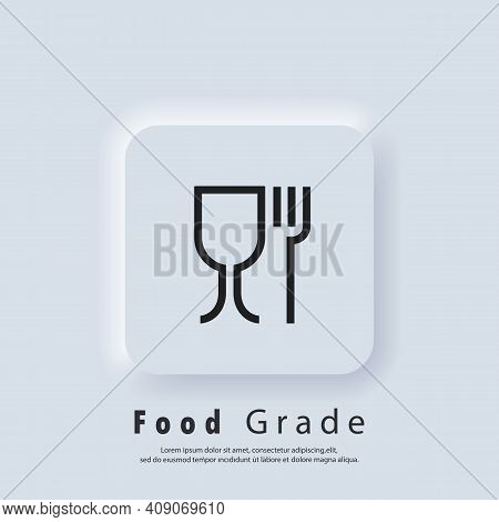 Food Grade Icon. Food Safe Material Sign. Food Grade Icons. Wine Glass And Fork Symbols.icon For Saf