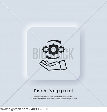 Tech Support Icon. Customer And Technical Support. Support Phone Operator With Headset. Vector Eps 1