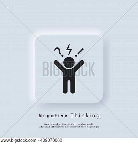 Negative Thinking Icon Logo. Bad Experience Feedback, Unhappy Client, Difficult Customer, Poor Servi