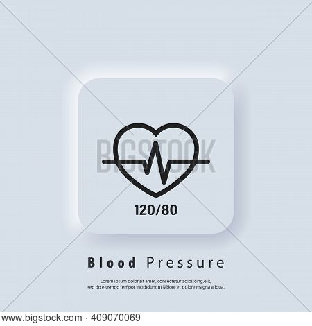 Blood Pressure Icon. Good Health Vector Icon. Blood Pressure Numbers With Heart Pulse Cardiogram, Me