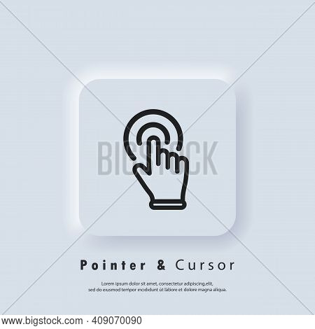 Clicking Finger Icon, Cursor. Hand Pointer, Clicking Icon. Vector Eps 10. Neumorphic Ui Ux White Use