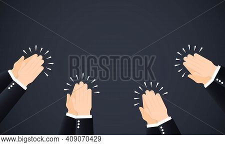 Hands Clapping Ovation. Crowd Ovation. Human Hands Clapping. Applause Hands. Vector Illustration In