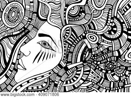 Coloring Page With Psychedelic Fantasy Face Girl With Wave Ornamental Hair Cyberpunk Style