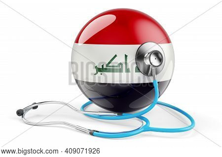 Iraqi Flag With Stethoscope. Health Care In Iraq Concept, 3d Rendering Isolated On White Background