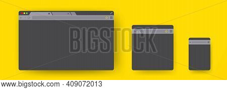 Simple Browser Internet Mockups. Web Window Screen Mockup For Laptop, Tablet And Phone. Website Diff