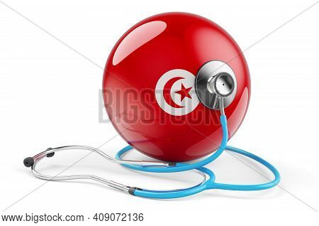 Tunisian Flag With Stethoscope. Health Care In Tunisia Concept, 3d Rendering Isolated On White Backg