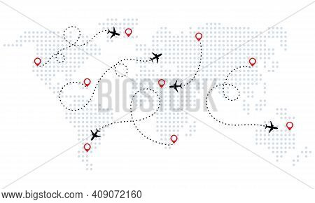 Airplane Is In Dotted Line. World Map. World Map Of Airline Airplane Flight Path Travel Plans. Touri