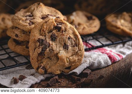 Closeup Of Delicious Chocolate Chip Cookies On A Cooling Rack
