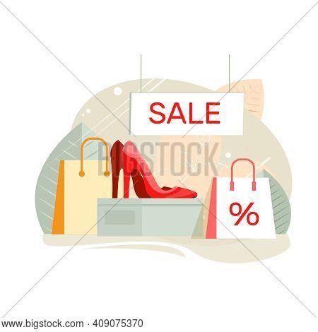 Footwear Designer Shoemaker Shop Flat Composition With Ladies Shoes Sale Shop Display Vector Illustr