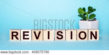 The Word Revision Is Written On Wooden Cubes Near A Flower In A Pot On A Light Blue Background