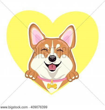 Welsh Corgi Dog Head On The Background Of The Heart. Cheerful Dog In A Collar. Corgi Head Vector Ill