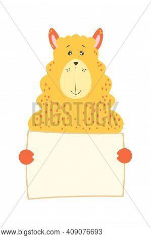 Cute Cartoon Alpaca Llama Animal Holding Tag Sign With Copy Space. Set Greeting Card Banner Invitati