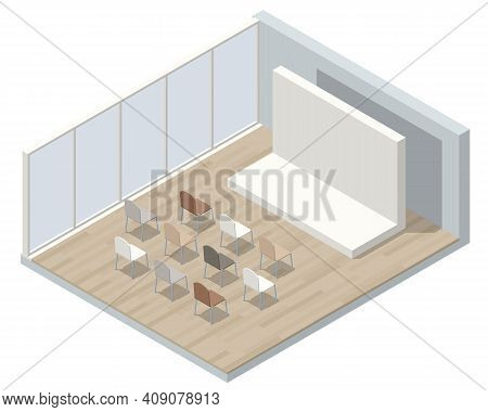 Isometric Lecture Hall, Lecture Audience. An Empty Large Lecture Room Or University Classroom With C