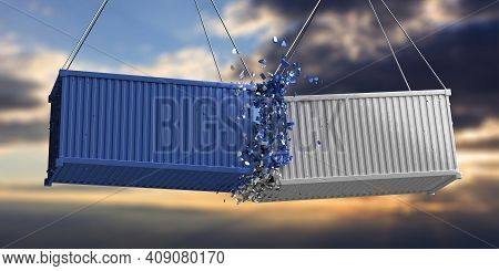 Shipping Containers Crashed On Sky At Sunset Background. 3D Illustration