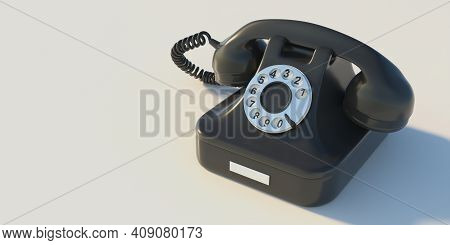 Retro Telephone, Black Old Phone Isolated On White Background, Copy Space. 3D Illustration