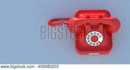 Retro Telephone, Red Old Phone On Blue Background, Copy Space. 3D Illustration