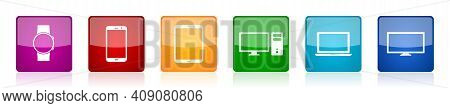 Set Of Colorful Glossy Electronic Mobile Devices Vector Icons, Smartwatch, Smartphone, Tablet, Lapto