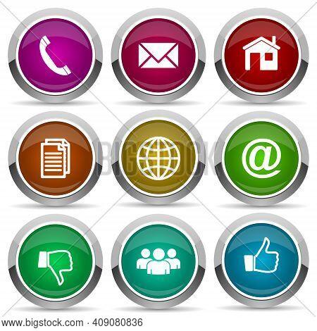 Internet Vector Icons, Set Of Social Media Concept Silver Metallic Chrome Border Web Buttons