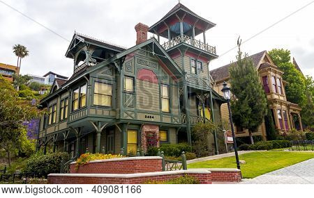San Diego,ca - May 8,2014:a View Of Historic House At Old Town Heritage Park In San Diego, Californi