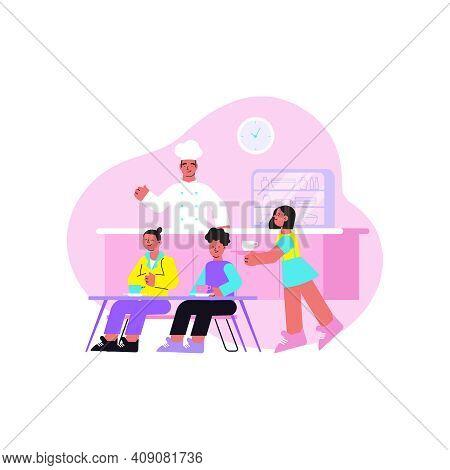 School Flat Composition With College Classmate Pupils Having Breakfast In Canteen Vector Illustratio