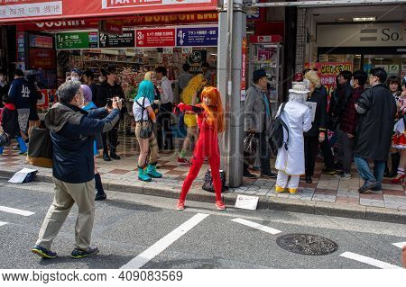 Osaka, Japan - March 18, 2018: Nipponbashi Street Festa, Colorful Cosplay And Anime Festival Held Ev