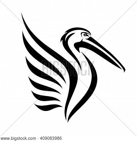 Pelican Bird With Beautiful Stylized Wing Side View Head Black And White Vector Outline