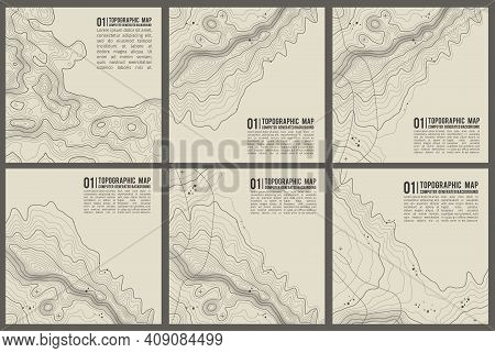 Topographic Pattern Texture Vector Set. Grey Contours Vector Topography. Geographic Mountain Topogra