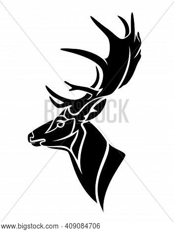 Antler Deer Stag Profile Head - Side View Black And White Vector Portrait Of Buck With Large Horns