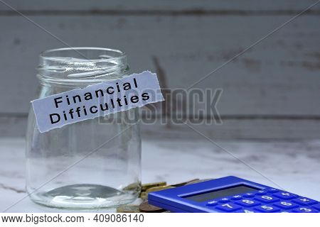 Glass Jars With Blurred Multicurrency Coins, Calculator And Text On White Torn Paper - Financial Dif
