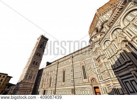 Florence Cathedral Isolated On White Background. Duomo Of Santa Maria Del Fiore And Bell Tower Of Gi