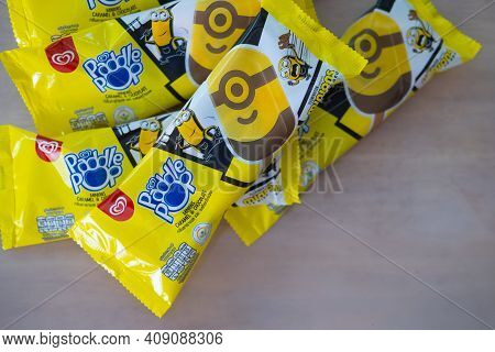 Bangkok, Thailand - February 21, 2021 : New! Wall's Paddle Pop Minions Caramel And Chocolate Flavour